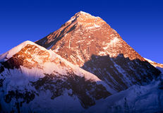 Mount Everest. With clear blue sky at sunset in the Nepal Himalaya mountain range royalty free stock photo