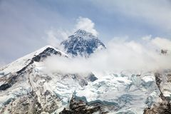 Mount Everest with clouds. Everest. View of top of Mount Everest with clouds from Kala Patthar way to Everest base camp, khumbu valley - Neepal royalty free stock photo