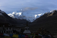 Mount Everest in dawn stock images