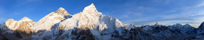 Mount Everest evening panoramic view. Evening panoramic view of Mount Everest from Kala Patthar - Way to Mount Everest base camp, Sagarmatha national park Royalty Free Stock Photos