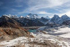 Mount Everest and Gokyo lake panoramic landscape. Amazing Himalayas mountains scene with emerald blue waters of moraine lake and snowy hills and peaks around Stock Photos