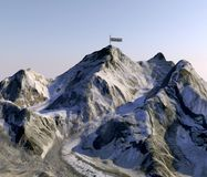 Mount Everest, heights of reliefs, the highest mountain in the world. Satellite view. Side of Nepal. 3d rendering. Elements of this image are furnished by NASA royalty free illustration