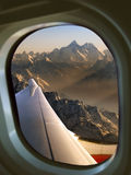 Mount Everest from aircraft window. View of Mount Everest and the Himalayas through an aircraft window Royalty Free Stock Photography