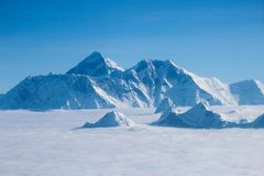 Mount Everest and the Himalayas in Sep 2017. Aerial flight over the Himalayas and Mount Everest in September 22 of 2017 Stock Images
