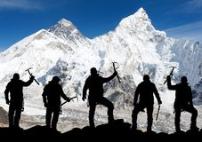 Mount Everest from Kala Patthar and silhouette of men. Trek to everest base camp - Nepal Royalty Free Stock Images