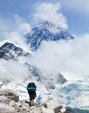 Mount Everest from Kala Patthar with tourist. Panoramic view of Mount Everest from Kala Patthar with tourist on the way to Everest base camp, Sagarmatha national royalty free stock image