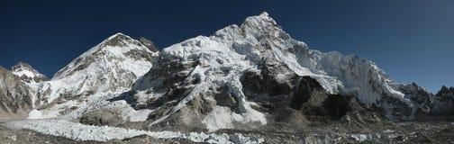 Mount Everest and the Khumbu Glacier, Himalayas, Nepal. Royalty Free Stock Photo