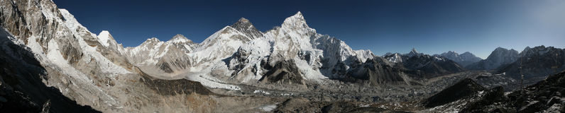 Mount Everest and the Khumbu Glacier from Kala Patthar, Himalaya. Mount Everest (8,848 m) and the Khumbu Glacier from the summit of Kala Patthar (5,644 m) in royalty free stock photography
