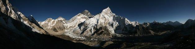 Mount Everest and the Khumbu Glacier from Kala Patthar, Himalaya. Mount Everest (8,848 m) and the Khumbu Glacier from the summit of Kala Patthar (5,644 m) in royalty free stock image