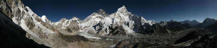 Mount Everest and the Khumbu Glacier from Kala Patthar, Himalaya Stock Photo