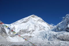 Mount Everest & Khumbu Icefall. View of Mount Everest and the Khumbu Icefall Royalty Free Stock Photos