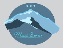 Mount Everest label with type design in vintage style Royalty Free Stock Photography