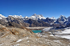 Mount Everest. Landscape shot overviewing the world's highest mountains including Mount Everest, world's second largest glacier (Khumbu) and Royalty Free Stock Photos
