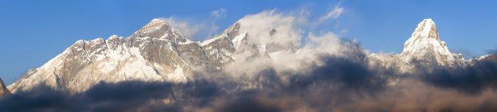 Mount Everest, Lhotse and Ama Dablam panorama royalty free stock photo