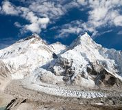 Mount Everest, Lhotse and Nuptse from Pumo Ri base camp Royalty Free Stock Images