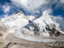 Mount Everest, Lhotse and Nuptse from Pumo Ri base camp Stock Image