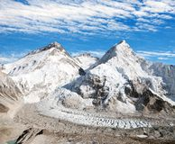 Mount Everest, Lhotse and Nuptse from Pumo Ri base camp Stock Photos