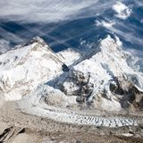 Mount Everest, Lhotse and Nuptse from Pumo Ri base camp Stock Photography