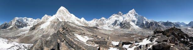 Mount Everest, Lhotse, Nuptse, Pumo Ri and Kala Patthar Royalty Free Stock Images