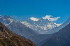 Mount Everest, Nepal. This photo was take from Nepal site, and we could see The top of the Everest region, Mount Everest with a cloud sky over it royalty free stock photos