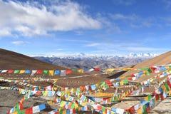 Mount Everest med b?nflaggor i f?rgrund royaltyfria bilder