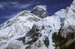 Mount Everest Nepal. The summit of Mount Everest (centre) in Nepal royalty free stock photography