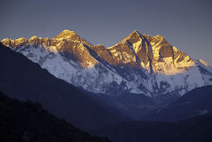 Mount Everest Nepal. The summit of Mount Everest (peak on the left) in Nepal with the Lhotse Massif stock photos