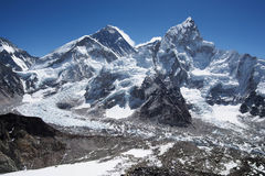 Mount Everest, Nuptse and the Khumbu Icefall in Nepal Royalty Free Stock Images