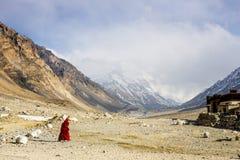 Mount Everest och bomullsflanelltempel royaltyfri fotografi