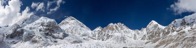 Mount Everest panorama. Panoramic view over the mount Everest summit from Everest Base Camp. Mount Everest., Sagarmatha National Park, Himalayas.. magnetic stock photo