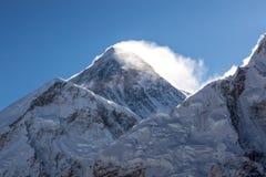 Mount Everest Peak Sagarmatha, Chomolungma. Mount Everest Peak Sagarmatha, Chomolungma - the top of the world 8848 m. Sunrise over the summit of the mount royalty free stock photography