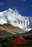 Mount everest with a red tent in front Royalty Free Stock Image