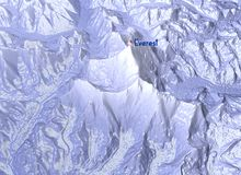 Mount Everest, relief height, mountains. 3d section Stock Photos