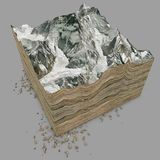Mount Everest, relief height, mountains. 3d section Stock Photo