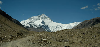 Mount Everest - The Road. Mount Everest view from Tibetan tourist road Stock Image