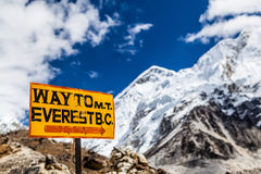 Mount Everest signpost Himalayas Stock Image