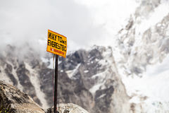 Mount Everest signpost in Himalayas Nepal royalty free stock photography