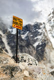 Mount Everest signpost in Himalayas Nepal. stock image
