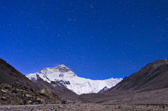Mount Everest on Starry sky  Royalty Free Stock Images