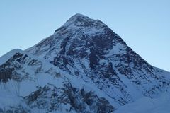 Mount Everest summit at dawn from Kala Patthar, Gorak Shep, Everest Base Camp trek, Nepal. Scenic view of Mount Everest summit at dawn from Kala Patthar, Gorak Royalty Free Stock Images