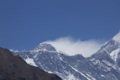 Mount Everest summit. View of the summit of Mount Everest royalty free stock photography