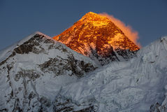 Mount Everest. And the sunset Stock Image
