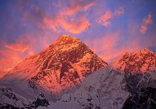 Mount Everest Sunset. Mount Everest 8848 m at sunset royalty free stock photos