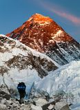 Mount Everest with tourist. Evening view of Mount Everest with beautiful sky, tourist and Khumbu Glacier from Kala Patthar - Khumbu valley, Sagarmatha national stock images