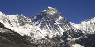 Mount Everest und Hillary Step in Himalaja-Bergen Stockbild