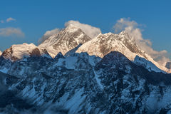 Mount Everest view from Gokyo Ri. Picturesque mountain summit scenery in the evening before sunset. Dramatic snowy peak of Everest, Sagarmatha National Park stock photography