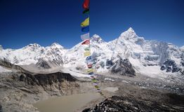 Mount Everest viewed from Kala Pattar. The mountains of Everest,Nuptse and Lhotse viewed from Kala Pattar in the Everest base camp trek in Nepal Stock Photos
