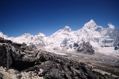 Mount Everest viewed from Kala Pattar. The mountains of Everest,Nuptse and Lhotse viewed from Kala Pattar in the Everest base camp trek in Nepal Royalty Free Stock Image
