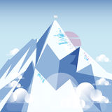 Mount Everest with white flag on the top. Stock Image