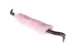 The mount. Female tool. The mount with fluffy pink handle Stock Photo